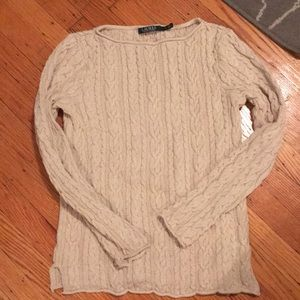 Lauren Ralph Lauren tan cable knit tunic